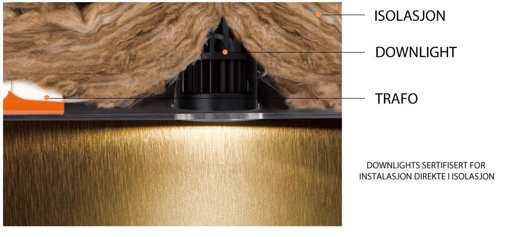 LED Downlight rett i isolasjon