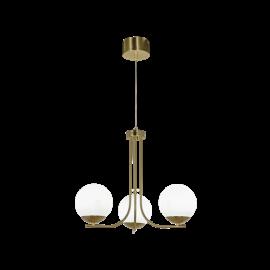 Orfeus taklampe messing/opal 3xE14