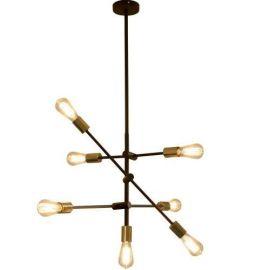 Nordesign Valeria nedpendlet taklampe, Sort/Børstet bronse