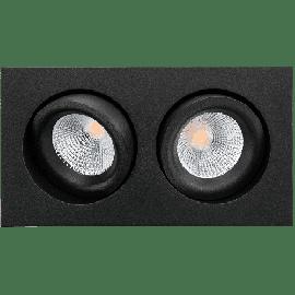 SG Junistar Square Lux Sort stål 2x7W LED 2700K Ra 98