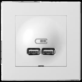 PLUS USB LADER 2,1A POLAT HVIT 2 PORTER ELKO