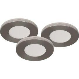 LED møbelspot sett av 3stk LED, 3x3W, 230V, IP21 børstet
