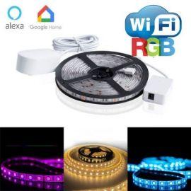 WIFI RGB LED stripe 5 meter IP65, ALEXA og Google home kompatibel