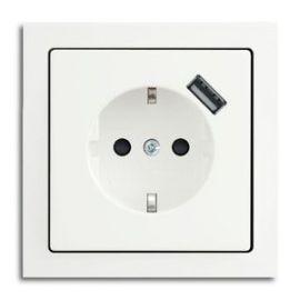 ABB IMPRESSIVO® INNFELT ENKEL STIKKONTAKT M/1 X USB HVIT
