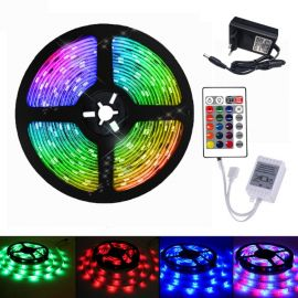 YWXLight 5M RGB LED Strip Light med 24 Key fjernkontroll, IP21